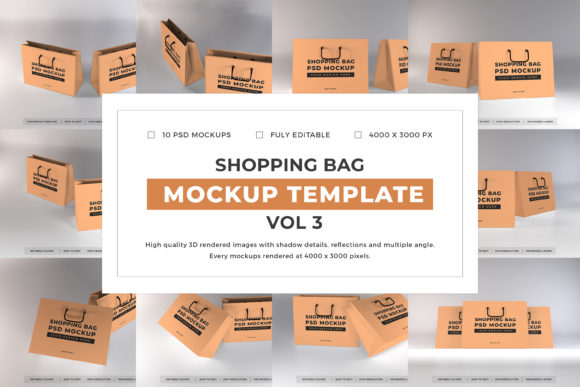 Print on Demand: Shopping Bag Mockup Bundle Vol 3 Graphic Product Mockups By dendysign