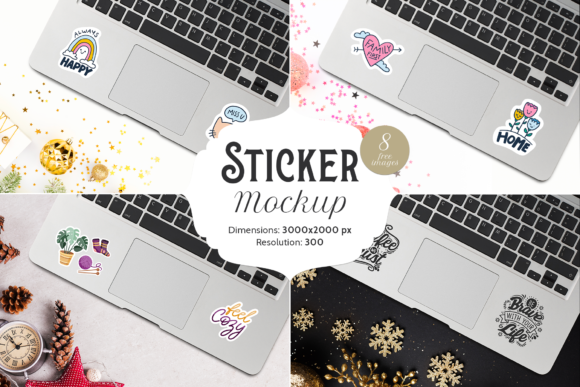Print on Demand: Sticker Mockup | 1 PSD & 8 JPG Images Graphic Product Mockups By Pixtordesigns