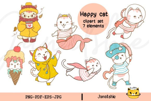 Cute Happy Cat Clipart Set PNG EPS Graphic Illustrations By Janatshie