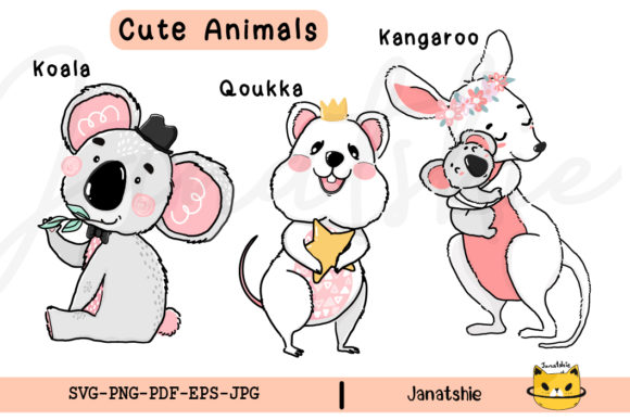 Cute Wild Animals Australia Clipart  PNG Graphic Illustrations By Janatshie