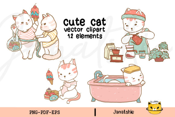 Cute Cat Vector Clipart Set PNG EPS Graphic Illustrations By Janatshie