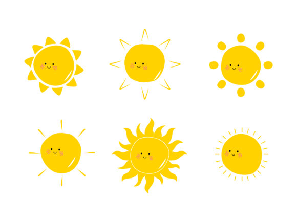 Print on Demand: Cute Suns Collection Doodle Illustration Graphic Illustrations By Musbila
