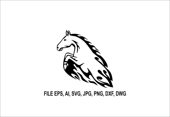 Print on Demand: Horse Jumping Flame Illustration 01 Graphic Illustrations By nisakaart