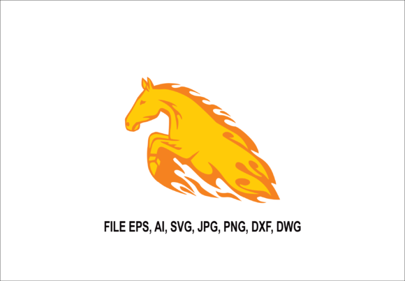 Print on Demand: Horse Jumping Flame Illustration Graphic Illustrations By nisakaart
