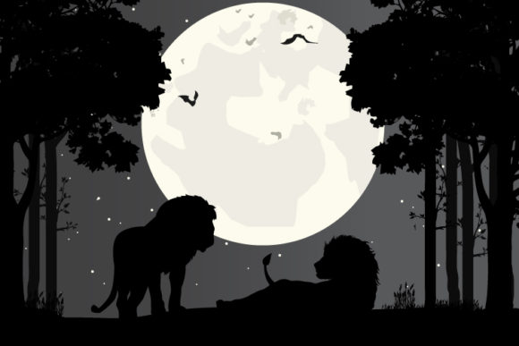 Print on Demand: Lion Silhouette Graphic Illustrations By curutdesign