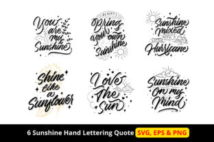 Print on Demand: 6 Sunshine Hand Lettering Quote Graphic Objects By Dikas Studio