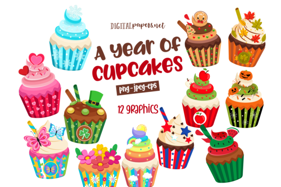 Print on Demand: A Year of Cupcakes Clipart Set Graphic Illustrations By DigitalPapers