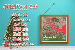 Print on Demand: Amsterdam - Netherlands Christmas Map Graphic Photos By tienstencil