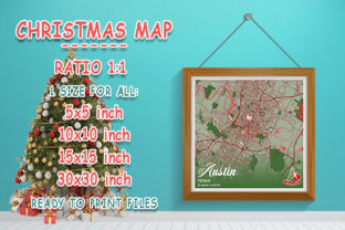 Print on Demand: Austin - Texas Christmas Map Graphic Photos By tienstencil