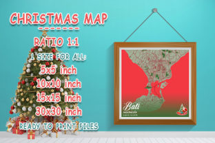 Print on Demand: Bali - Indonesia Christmas Map Graphic Photos By tienstencil