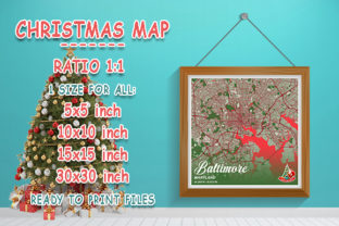 Print on Demand: Baltimore - Maryland Christmas Map Graphic Photos By tienstencil