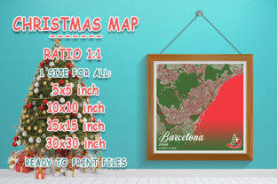 Print on Demand: Barcelona - Spain Christmas Map Graphic Photos By tienstencil