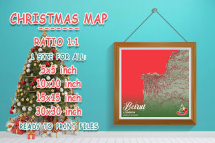 Print on Demand: Beirut - Lebanon Christmas Map Graphic Photos By tienstencil