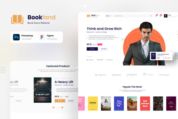 Print on Demand: Bookland - Book Store Ecommerce Website Graphic UX and UI Kits By peterdraw