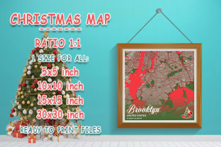 Print on Demand: Brooklyn - United States Christmas Map Graphic Photos By tienstencil