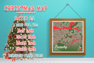Print on Demand: Burnaby - Canada Christmas Map Graphic Photos By tienstencil