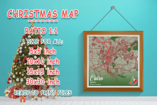 Print on Demand: Cairo - Egypt Christmas Map Graphic Photos By tienstencil