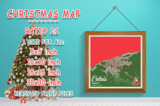 Print on Demand: Calais - France Christmas Map Graphic Photos By tienstencil