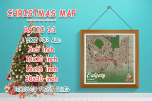 Print on Demand: Calgary - Canada Christmas Map Graphic Photos By tienstencil