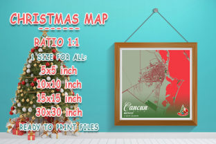 Print on Demand: Cancun - Mexico Christmas Map Graphic Photos By tienstencil