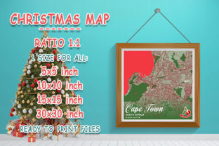 Print on Demand: Cape Town - South Africa Christmas Map Graphic Photos By tienstencil