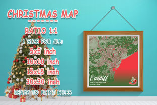 Print on Demand: Cardiff - United Kingdom Christmas Map Graphic Photos By tienstencil