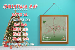 Print on Demand: Casper - United States Christmas Map Graphic Photos By tienstencil
