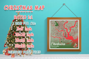 Print on Demand: Charleston - United States Christmas Map Graphic Photos By tienstencil