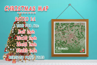 Print on Demand: Chemnitz - Germany Christmas Map Graphic Photos By tienstencil