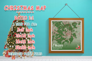 Print on Demand: Chester - United Kingdom Christmas Map Graphic Photos By tienstencil