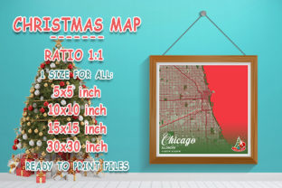 Print on Demand: Chicago - Illinois Christmas Map Graphic Photos By tienstencil