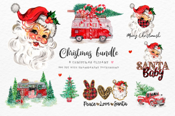 Christmas Bundle with Santa Baby Graphic Crafts By Chonnieartwork