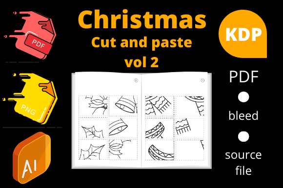 Print on Demand: Christmas Cut and Paste , KDP Volume 2 Graphic KDP Interiors By Dunkyshot