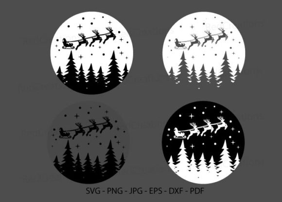 Christmas Deer Svg, Santa on Sleigh Graphic Crafts By RedCreations