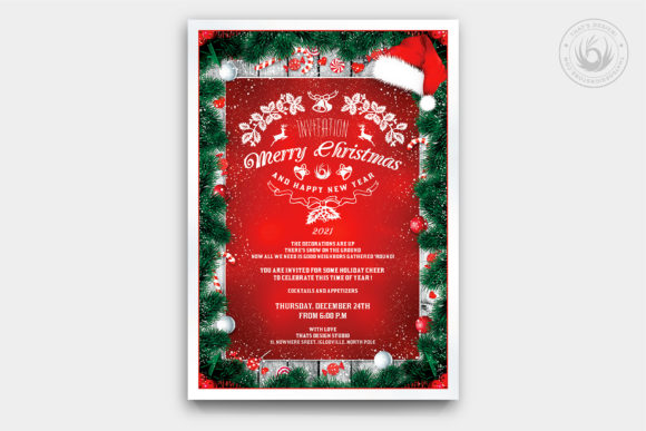Christmas Invitation Template V6 Graphic Print Templates By ThatsDesignStore