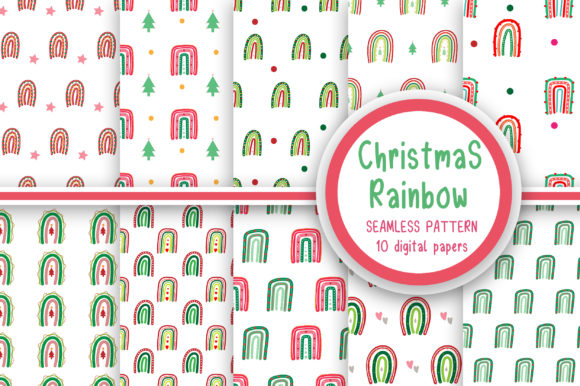 Christmas Rainbow Seamless Pattern Graphic Patterns By PearlyDaisy
