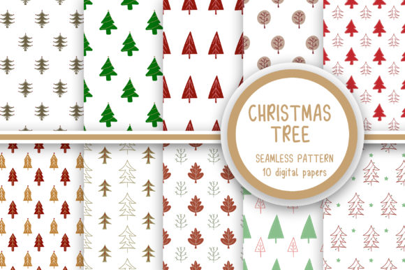 Christmas Tree Seamless Pattern Graphic Patterns By PearlyDaisy