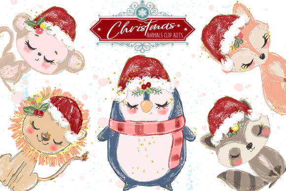Christmas Animals Cliparts Graphic Illustrations By Hippogifts