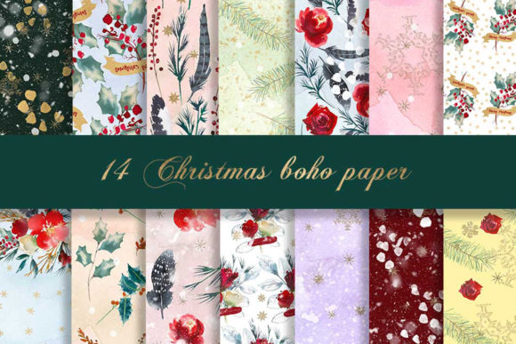 Print on Demand: Christmas Boho Digital Paper Pattern Graphic Patterns By beracaink
