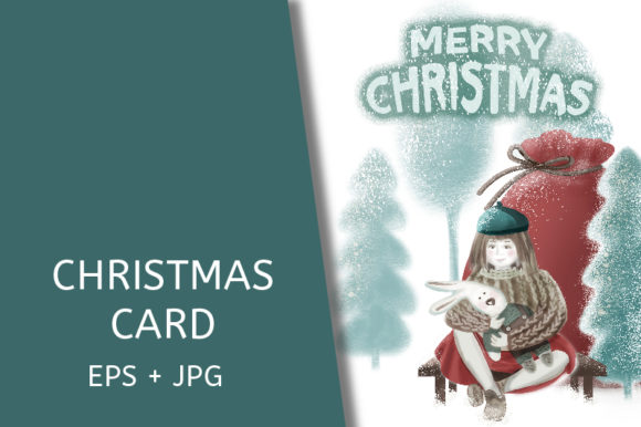Christmas Card. a Girl in a Beret. Graphic Illustrations By kazakova_o