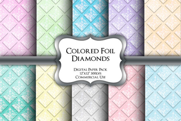 Print on Demand: Colored Foil Diamonds Digital Paper Pack Graphic Backgrounds By Party Pixelz