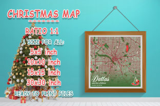 Print on Demand: Dallas - United States Christmas Map Graphic Photos By tienstencil