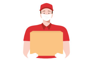Print on Demand: Delivery Man Holding Boxes with Mask Graphic Illustrations By Musbila