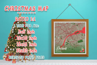 Print on Demand: Detroit - Michigan Christmas Map Graphic Photos By tienstencil