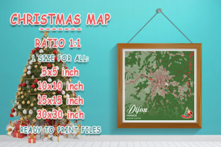 Print on Demand: Dijon - France Christmas Map Graphic Photos By tienstencil
