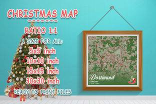 Print on Demand: Dortmund - Germany Christmas Map Graphic Photos By tienstencil