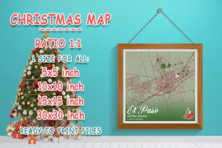 Print on Demand: EL Paso - United States Christmas Map Graphic Photos By tienstencil