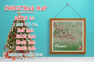 Print on Demand: Florence - Italy Christmas Map Graphic Photos By tienstencil