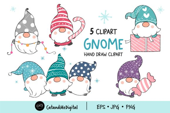 Gnomes Winter Clipart Graphic Illustrations By CatAndMe