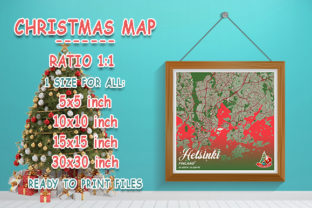 Print on Demand: Helsinki - Finland Christmas Map Graphic Photos By tienstencil